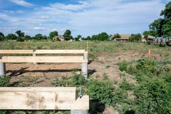 基础建筑 未完成的木屋 库存图片