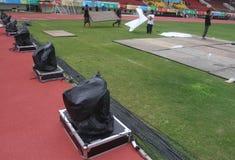 基础设施为东南亚国家联盟巴拉比赛做准备 图库摄影