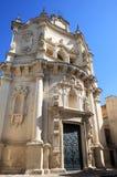 基耶萨di圣马泰奥,莱切,意大利巴洛克式的门面  免版税库存图片