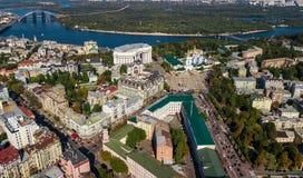 基辅从上面市地平线空中顶视图, Kyiv中心街市都市风景,乌克兰 免版税库存照片