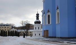 基辅圣约翰福音传教士餐厅教会金黄半球形的修道院的 图库摄影