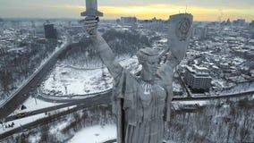 基辅市-乌克兰的首都 照顾祖国,纪念碑位于第聂伯河银行  通风 库存照片