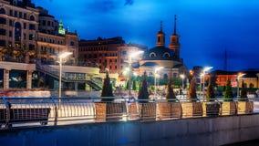 基辅或Kiyv,乌克兰:市中心的夜视图 免版税图库摄影