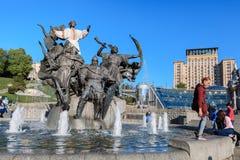 基辅的创建者雕象独立广场的 免版税库存图片
