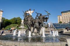 基辅的创建者雕象独立广场的 库存照片