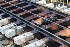 基辅缆索铁路的路轨 免版税库存图片