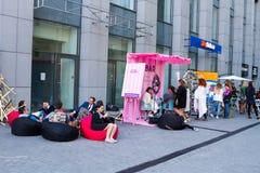 基辅花市场-第一朵城市花公平在基辅,乌克兰 2016年9月18日 免版税库存图片