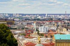 基辅视图从一个观察点的在Dnieper 乌克兰 免版税库存图片