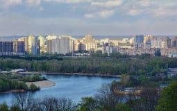 基辅都市风景和第聂伯河,乌克兰 库存照片