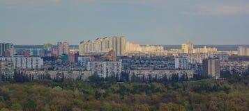 基辅都市风景和第聂伯河,乌克兰 免版税库存照片