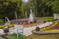 基辅,乌克兰花展示风景公园在基辅 构成Ob 免版税库存图片