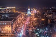 基辅,乌克兰:老镇在晚上 库存图片