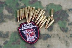 基辅,乌克兰- 2015年7月, 08日 乌克兰军队非官方的一致的徽章 免版税库存图片