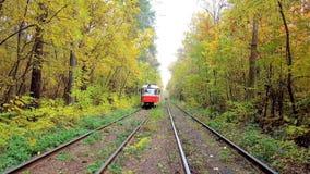 基辅,乌克兰- 2018年10月21日:在Pushcha-Voditsa温泉r秋天森林中黄色树的红色葡萄酒城市电车驱动  股票录像