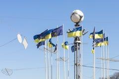 基辅,乌克兰- 2017年5月06日:欧洲正方形在乌克兰首都Kyiv的中心 许多乌克兰语和欧盟旗子 城市 免版税库存照片