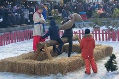 基辅,乌克兰- 2018年2月17日:狂欢节传统乐趣  免版税图库摄影
