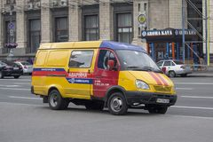 基辅,乌克兰- 2017年10月23日:Kievenergo市政服务的紧急汽车  免版税库存图片