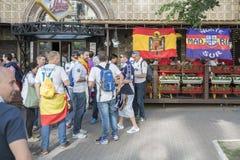 基辅,乌克兰- 2018年5月26日 爱好者区域 利物浦爱好者的娱乐  冠军2018的UEFA年同盟决赛  免版税库存图片