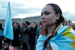 基辅,乌克兰- 2015年5月18日, :克里米亚半岛鞑靼人庆祝克里米亚半岛鞑靼人的牵强的驱逐出境的71th周年从克里米亚的 免版税库存图片