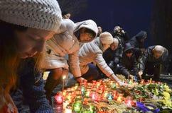基辅,乌克兰- 2015年11月28日:乌克兰人纪念1932-1933伟大的饥荒 库存图片