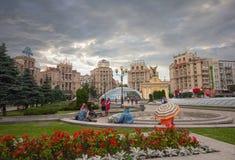 基辅,乌克兰- 2016年6月16日:公民有独立广场的一基于 免版税库存图片