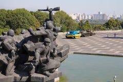 基辅,乌克兰- 2015年8月9日:共产主义雕象在巨大爱国战争的博物馆 免版税库存照片