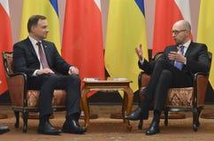 基辅,乌克兰- 2015年12月15日:共和国的总统的正式访问波兰Andrzej Duda在乌克兰 免版税库存照片