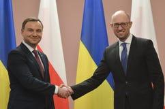 基辅,乌克兰- 2015年12月15日:共和国的总统的正式访问波兰Andrzej Duda在乌克兰 库存图片