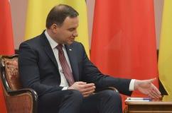 基辅,乌克兰- 2015年12月15日:共和国的总统的正式访问波兰Andrzej Duda在乌克兰 免版税库存图片
