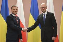 基辅,乌克兰- 2015年12月15日:共和国的总统的正式访问波兰Andrzej Duda在乌克兰 图库摄影