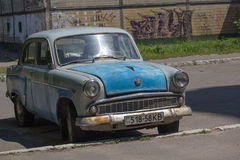基辅,乌克兰- 2017年6月19日:老苏维埃做的汽车 库存照片