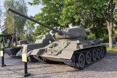 基辅,乌克兰- 2015年8月18日:苏联坦克T-34展览  免版税库存图片