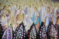 基辅,乌克兰- 4月 3日2015年:在东乌克兰丧生的乌克兰军人的伊戈尔Branovitskiy葬礼 免版税库存照片