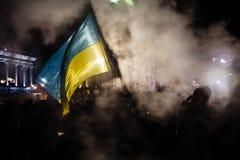 基辅,乌克兰- 11月29 :亲欧洲抗议在基辅 免版税库存图片