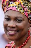 基辅,乌克兰- 5月31 :唱歌在传统衣裳的未认出的非洲妇女天基辅5月31,2014,乌克兰的基辅假日 免版税库存照片