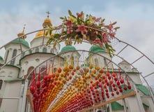 基辅,乌克兰- APRIL17 :在Eas乌克兰节日的复活节彩蛋  免版税图库摄影