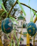 基辅,乌克兰- APRIL17 :在Eas乌克兰节日的复活节彩蛋  免版税库存图片