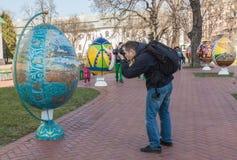 基辅,乌克兰- APRIL11 :Pysanka -乌克兰人复活节彩蛋 exhi 免版税库存图片