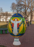基辅,乌克兰- APRIL11 :Pysanka -乌克兰人复活节彩蛋 exhi 图库摄影