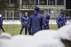 基辅,乌克兰- DEC 06 :在sno的冬天训练发电机基辅 免版税库存图片