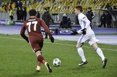 基辅,乌克兰- DEC 06 :在UEFA冠军期间的Gokhan格尼尔 库存图片