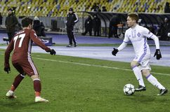 基辅,乌克兰- DEC 06 :在UEFA冠军期间的Gokhan格尼尔 库存照片