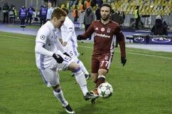 基辅,乌克兰- DEC 06 :在UEFA期间的Gokhan格尼尔拥护L 免版税库存图片