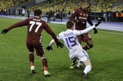基辅,乌克兰- DEC 06 :在UEFA期间的Gokhan格尼尔拥护L 免版税库存照片