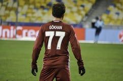 基辅,乌克兰- DEC 06 :在UEFA期间的Gokhan格尼尔拥护L 库存图片