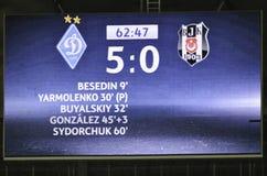 基辅,乌克兰- DEC 06 :表显示体育场失败贝希克塔什 免版税图库摄影