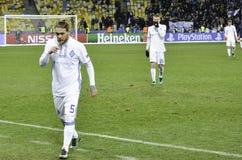 基辅,乌克兰- DEC 06 :足球运动员发电机基辅的事假 免版税图库摄影