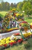 基辅,乌克兰- SEPTEMBER29 :Chrysanthemumsr展示风景公园 库存照片