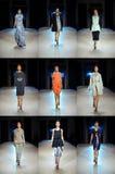 基辅- 10月14 :在乌克兰语期间,模型提出乌克兰设计师Poustovit春天/夏天2011收藏在亚尔他商展中心 库存照片