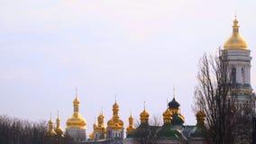 基辅Pechersk拉夫拉圆顶  金黄的圆屋顶 股票视频